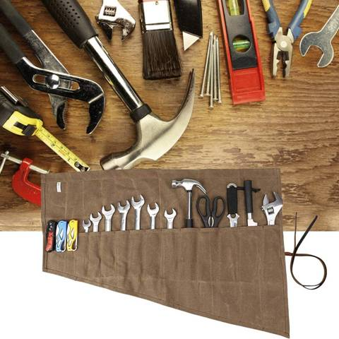 Hense - Large Wrench Roll, Heavy Duty Waxed Canvas Tool Roll Pouch